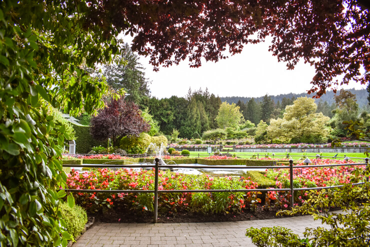 The Italian Garden area of Butchart Gardens, near Victoria, British Columbia
