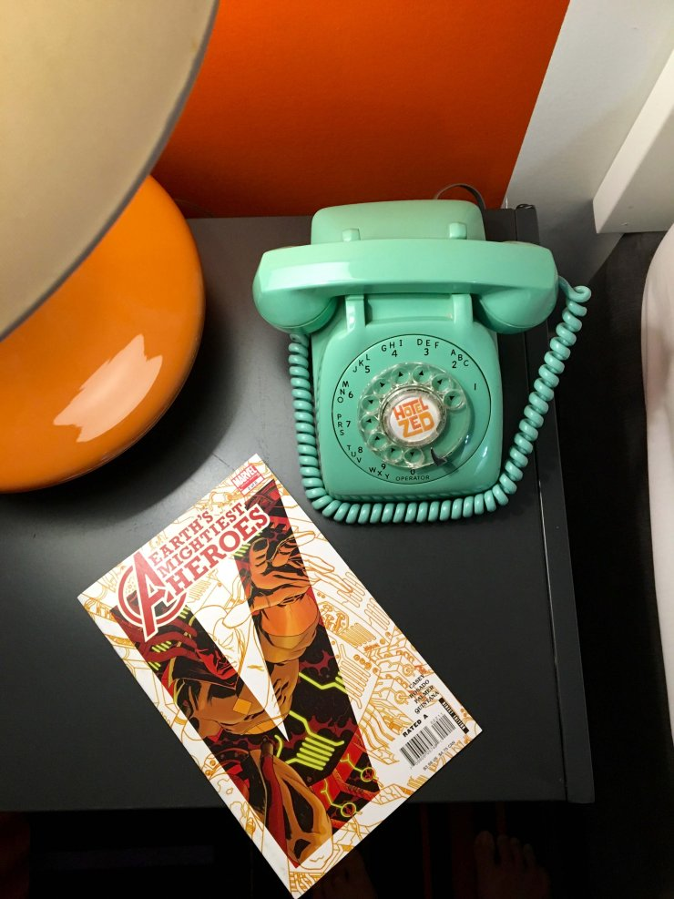 This old-fashioned phone in the room was a hit with kids and parents alike. Hotel Zed also puts comic books in all the rooms.