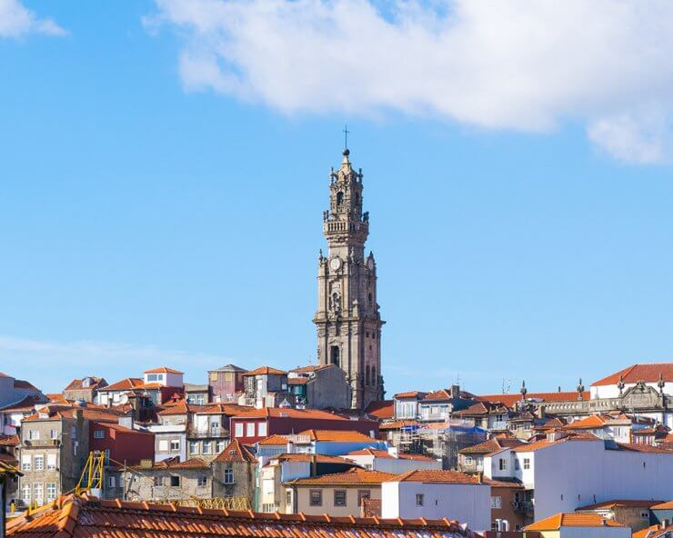 Beautiful rooftop and Clérigos Tower view in Porto, Portugal.