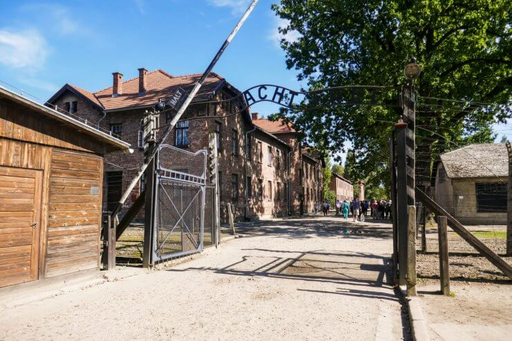 The infamous entrance gate to Auschwitz