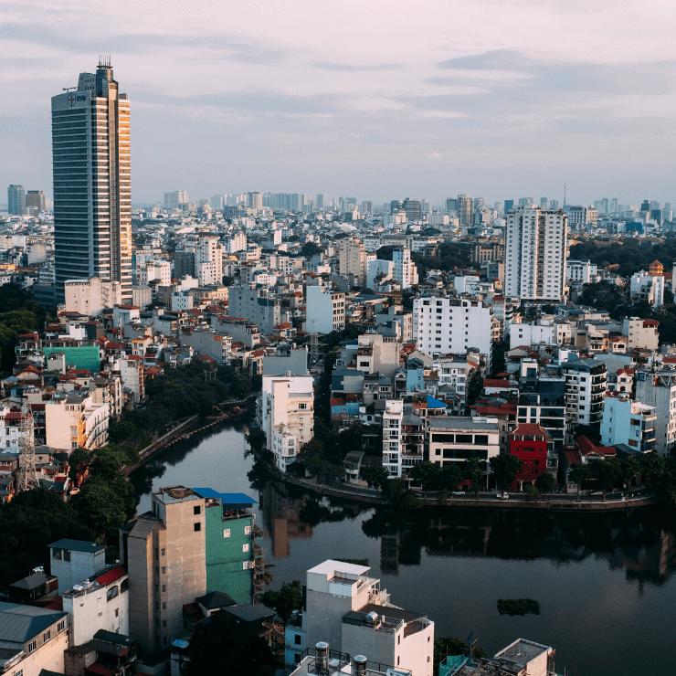 Hanoi, Vietnam: An aerial shot of the city skyline.