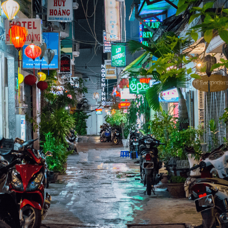 Colorful street in Ho Chi Minh City, Vietnam