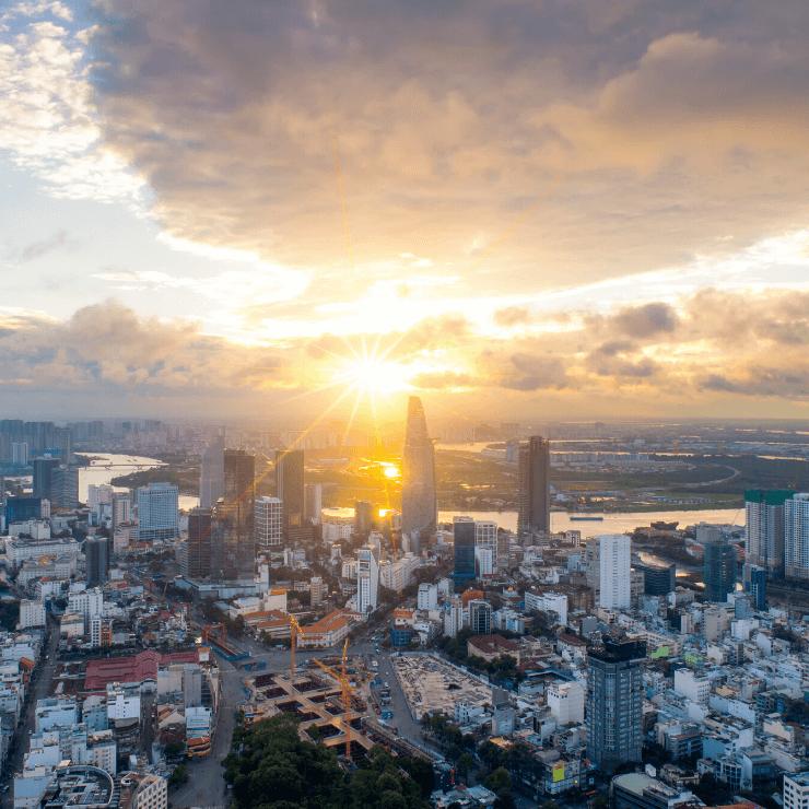 Bird's eye view of Ho Chi Minh City, Vietnam at sunset