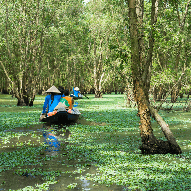 Row boat on the Mekong Delta in Vietnam.
