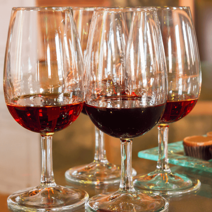 Glasses of port wine with chocolate in Porto, Portugal.