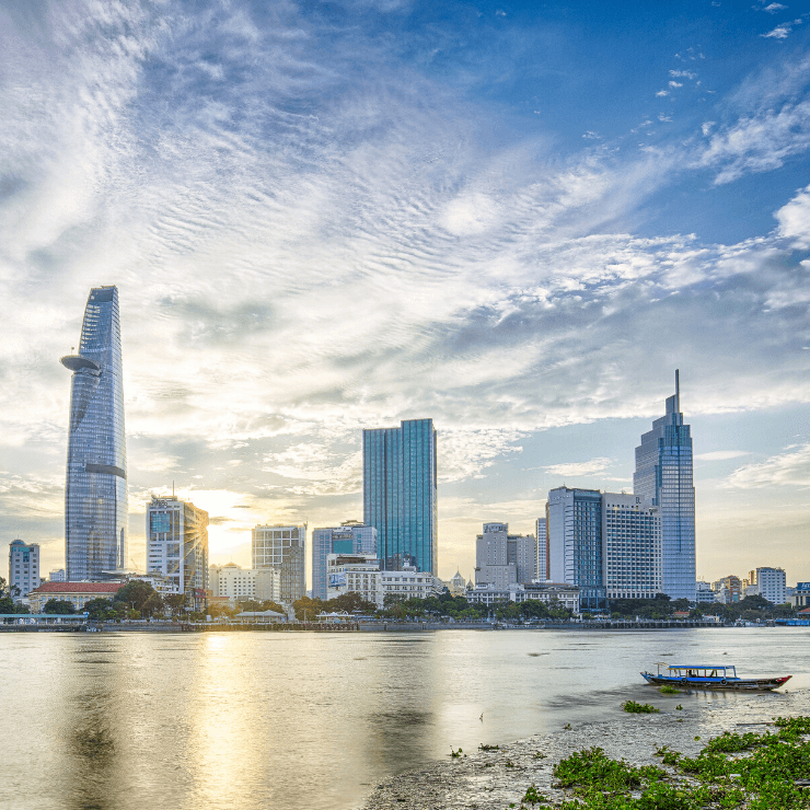 Skyline view of Ho Chi Minh City sen from across the water.