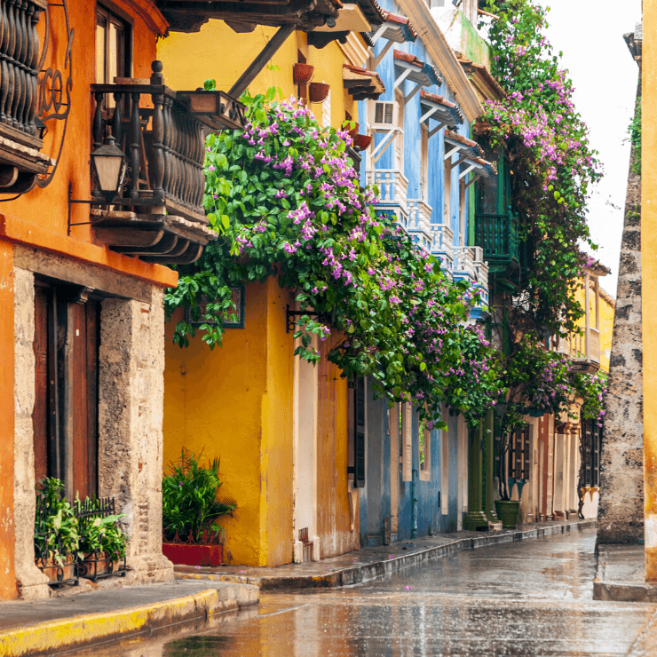Colorful street with flower boxes in Cartagena, Colombia