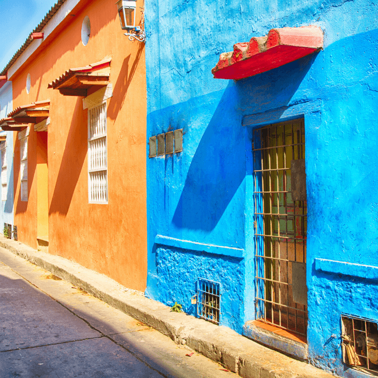 Colorful street in Cartagena, Colombia