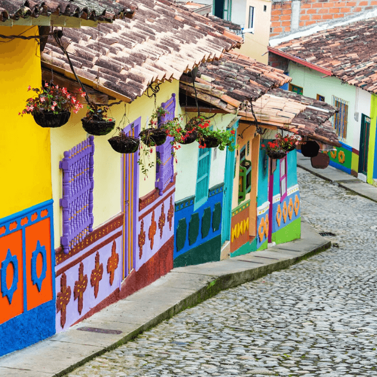 Colorful street in Bogotá