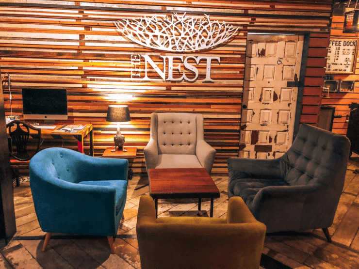 The lobby of the Nest hotel in Galway, Ireland
