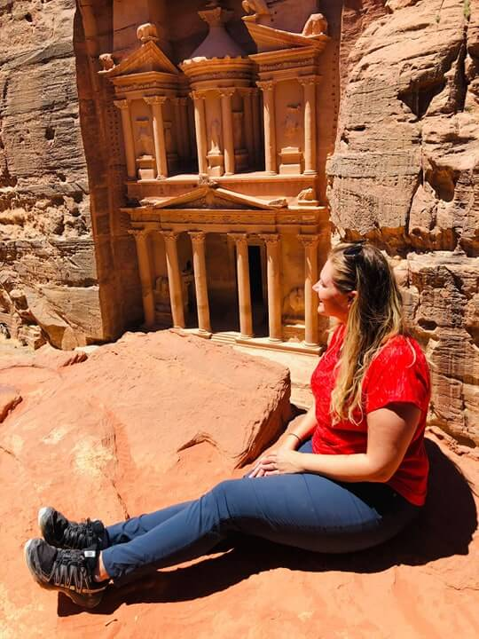 An excellent, less-visited viewpoint for the Treasury in Petra.