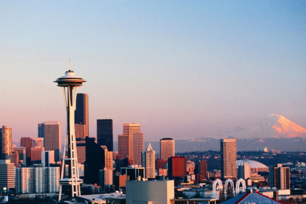 Seattle Skyline with Space Needle and Mount Rainier