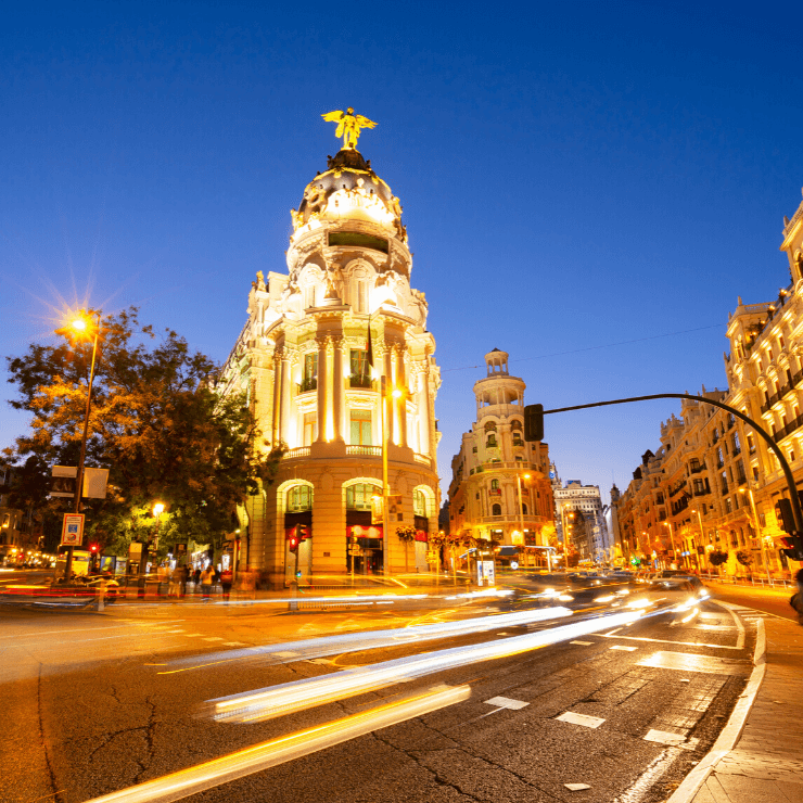 View of a street in Madrid, Spain at night