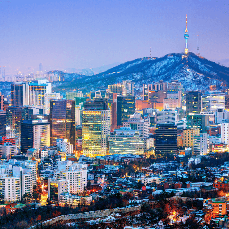 Skyline of Seoul, South Korea, an incredible city to visit even if short on time and you only one day in Seoul to explore.