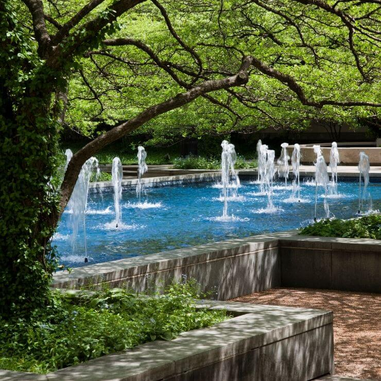 The South Garden fountains at the Art Institute of Chicago.