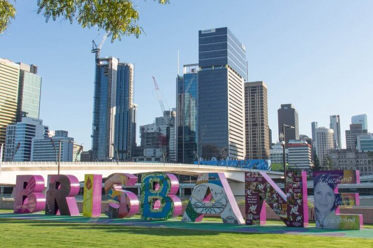 Colorful Brisbane sign in the city center of Brisbane, Australia