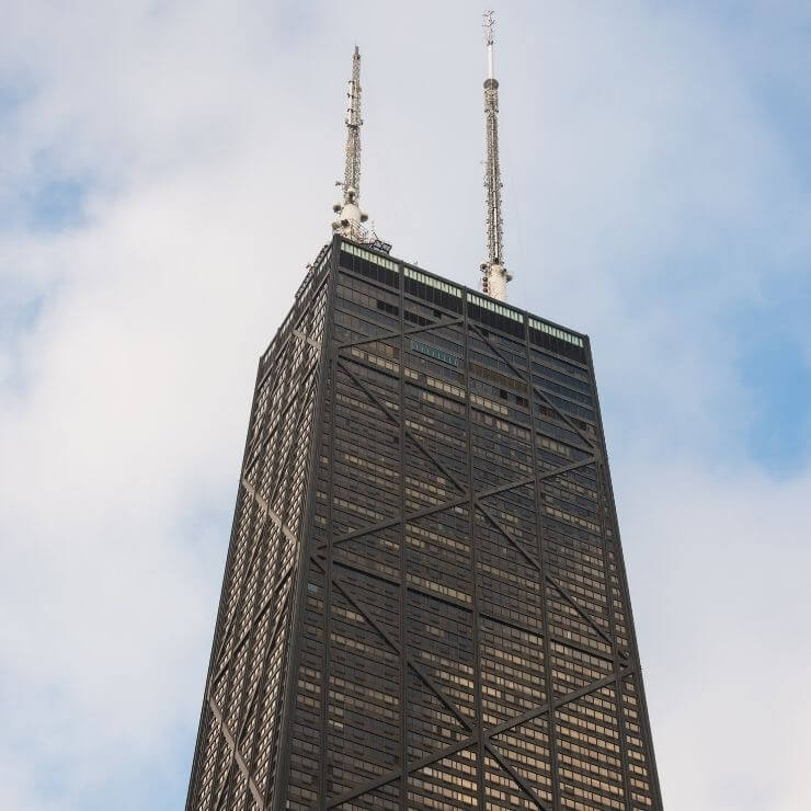 John Hancock Tower in Chicago, which is home to the 360 Chicago viewing deck.