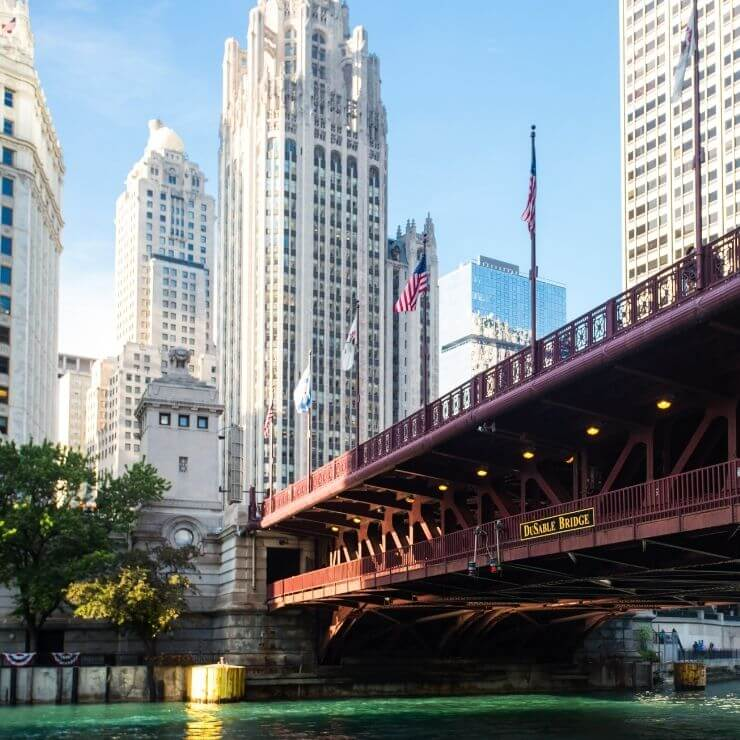 DuSable Bridge in downtown Chicago. Put crossing it on your 24 hour Chicago itinerary.