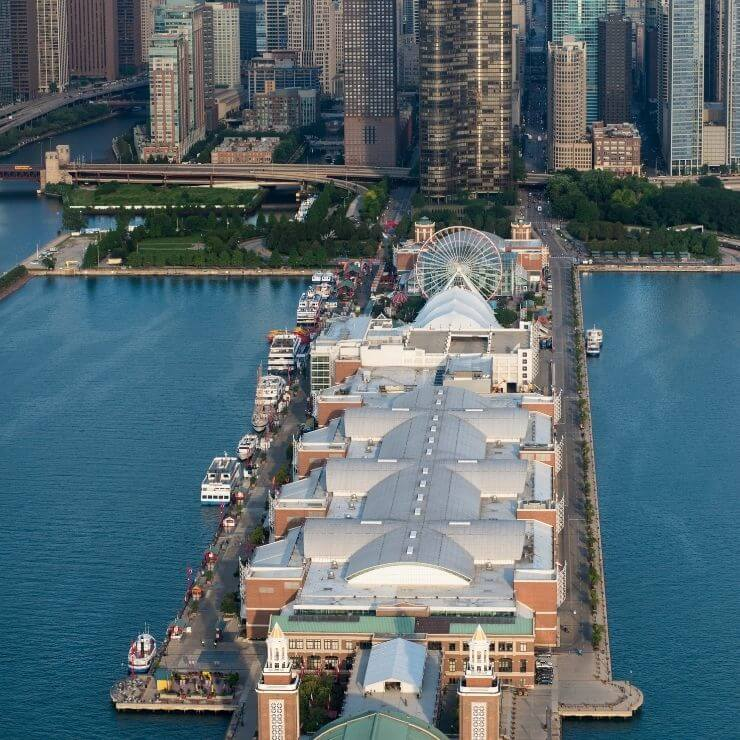 Bird's eye view of the Navy Pier in Chicago. It's a great place to spend some time if you have 24 hours in Chicago.
