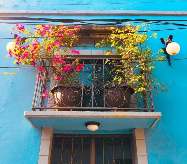 Pretty blue building in the Condesa neighborhood of Mexico City