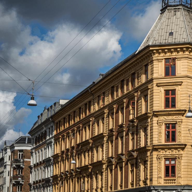 Architecturally stunning building in the Nørrebro neighborhood of Copenhagen, Denmark.
