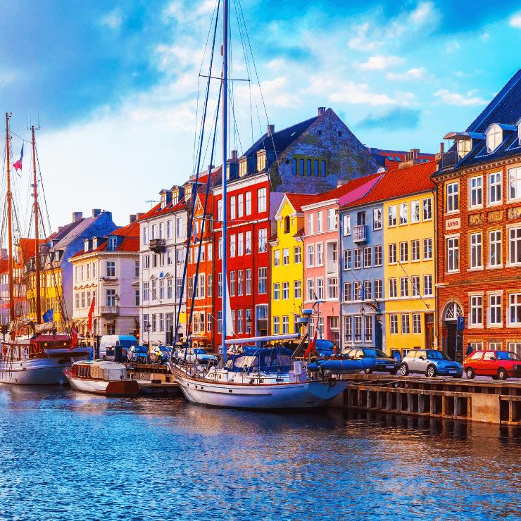 Nyhavn neighborhood of Copenhagen is a great place to start you day in Copenhagen.