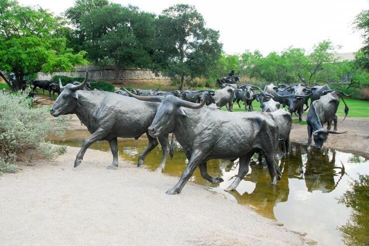 Cattle Drive Sculptures in Pioneer Plaza in Dallas, Texas is a great place to begin a day exploring Dallas.