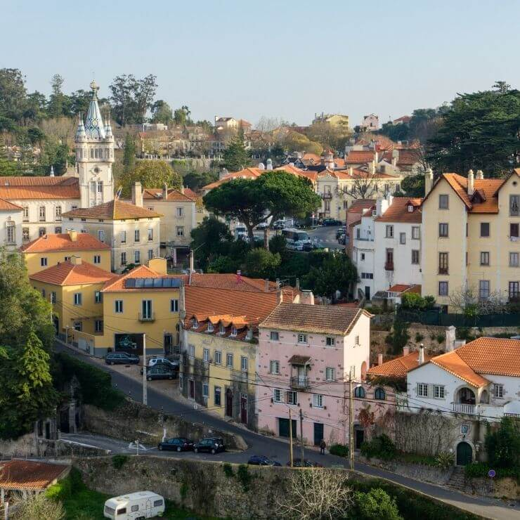 Streets of Sintra and colorful buildings in the town center of Sintra