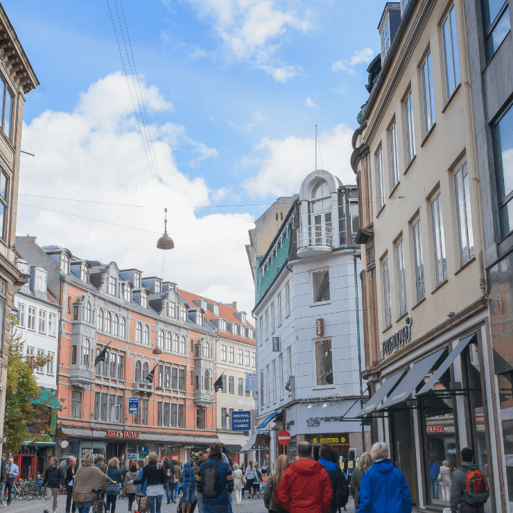 Stroget Street in Copenhagen is a great place to shop for souvenirs.