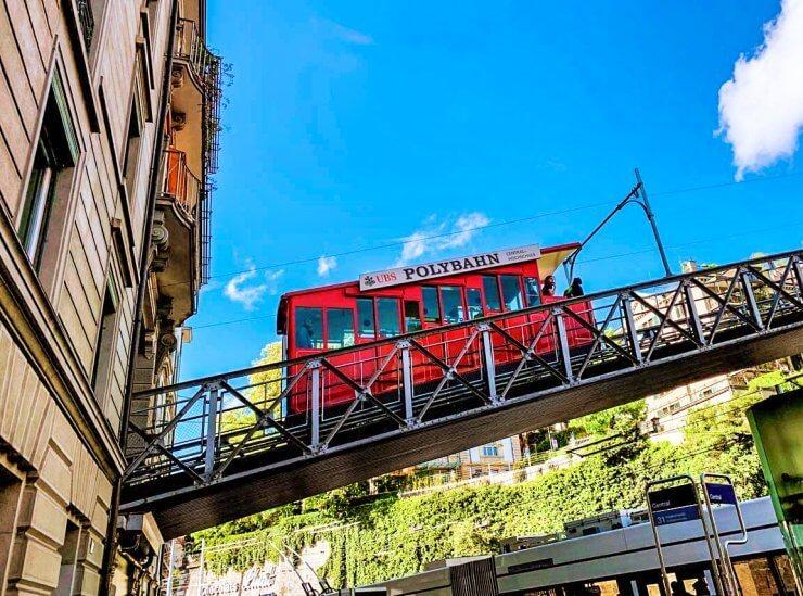 Cogwheel train to one of the best views in Zurich, Switzerland.