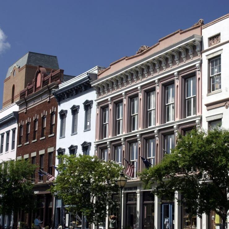 Stately buildings along King Street in Charleston, South Carolina. King Street is a great place to do some shopping during your day in Charleston.