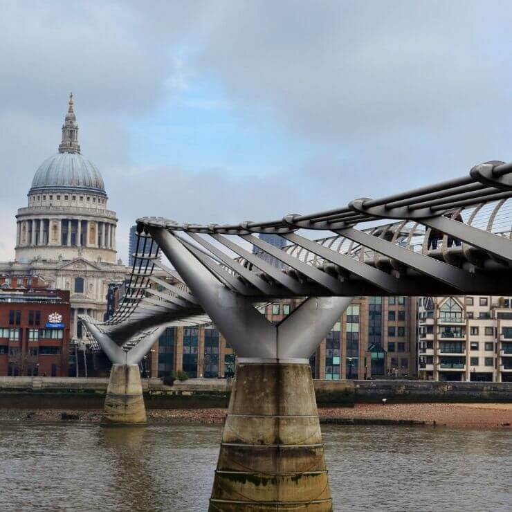 Millennium Bridge Leading to St. Paul's Cathedral in London