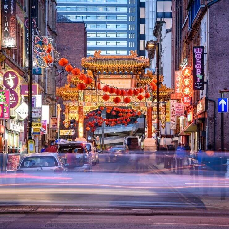 Street in Chinatown in Manchester, UK