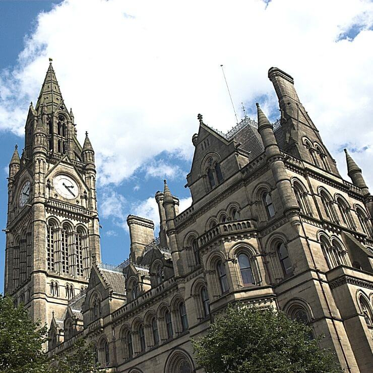 Manchester Town Hall is a must-see site during a day in Manchester, England.