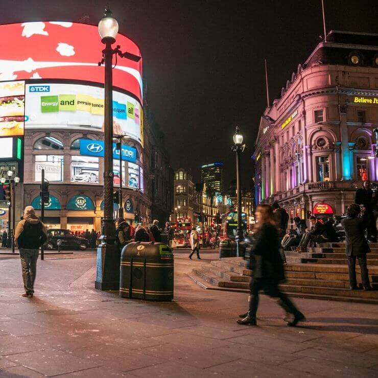 Piccadilly Circus in London, England at Night