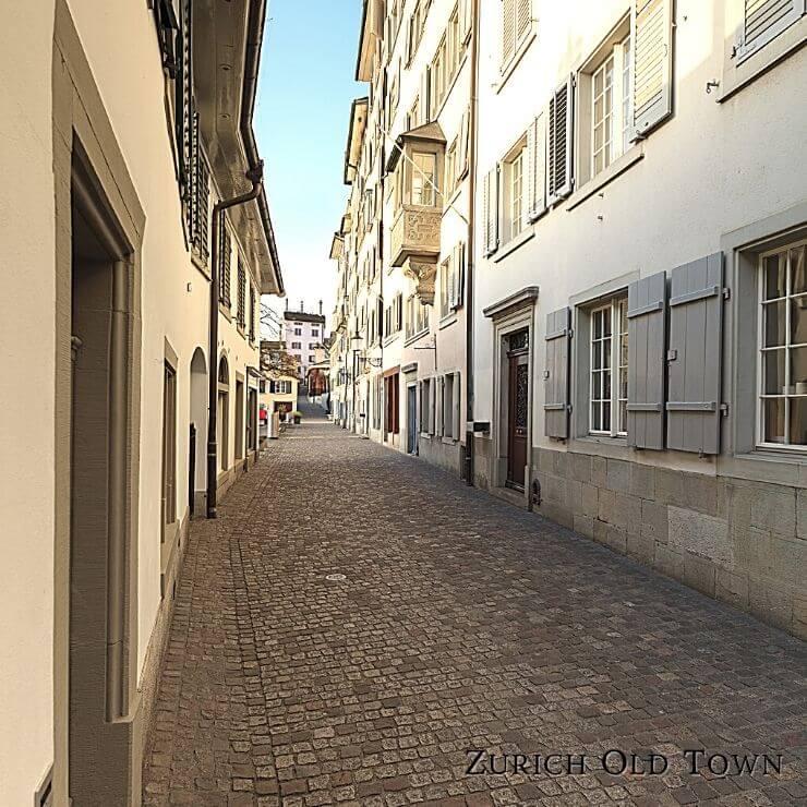 Pretty street in Zurich's scenic old town.
