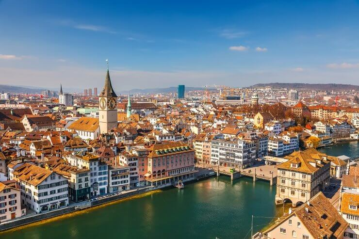 Aerial view of Zurich, Switzerland, a wonderful place for spending 24 hours.