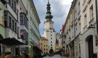 Your one day in Bratislava itinerary definitely needs time to see Michael's Gate and other medieval architecture in Bratislava.