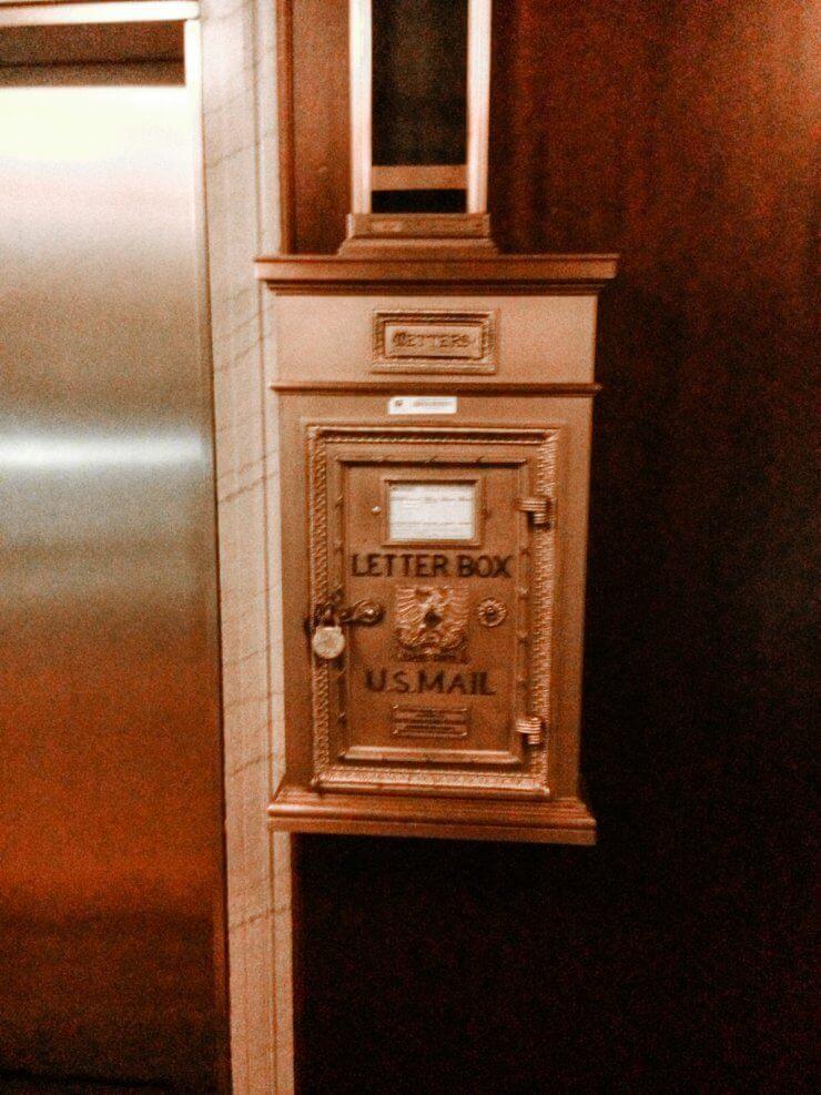 Historic mailbox in the Biltmore Hotel in Providence, RI