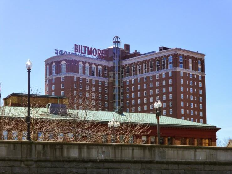 Exterior of the historic Biltmore Hotel located right in the city center of Providence, RI