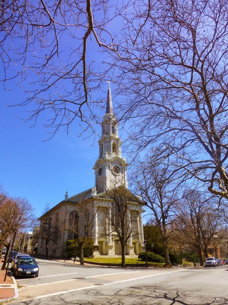 First Unitarian Church of Providence in the College Hill neighborhood, a must-see place to visit during your time in Providence even if you have less than 24 hours.