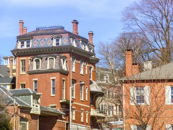 Historic buildings with beautiful architecture in Providence, Rhode Island.