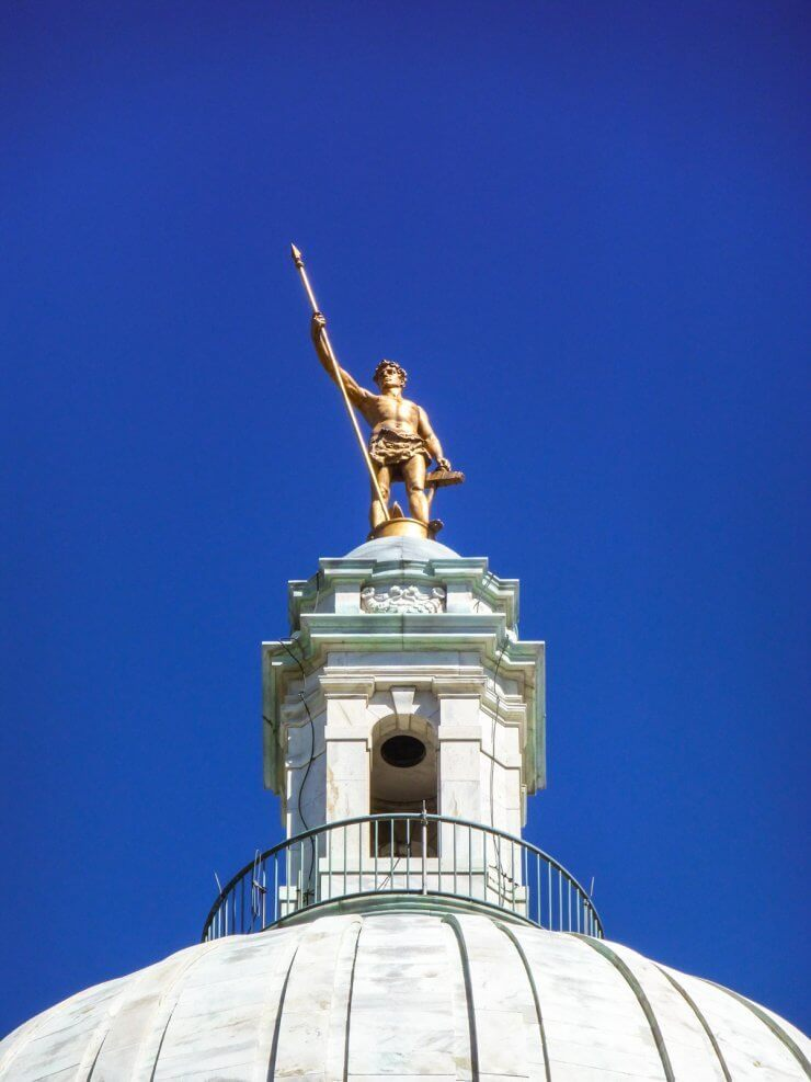 The Independent Man statue on top of the Rhode Island State House in Providence.