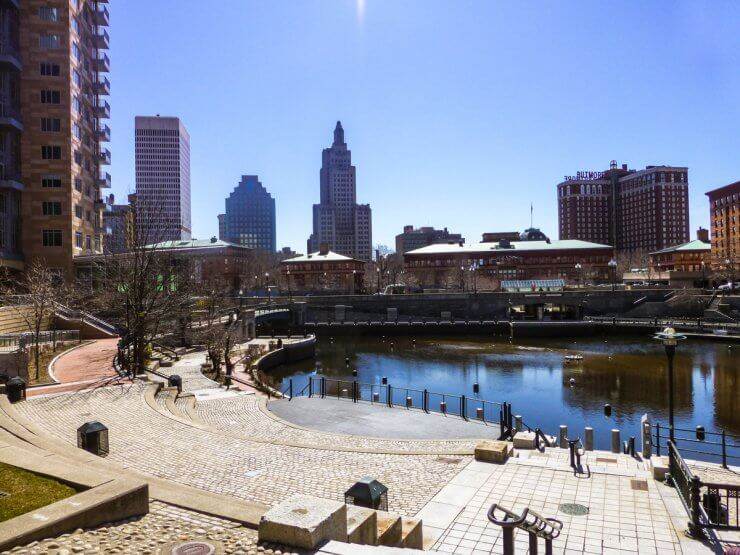 Waterplace Park is a lovely place to go for a stroll in Providence, RI.