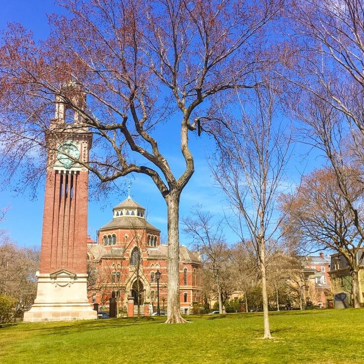 Brown University Campus in Providence. The Carrie Tower clock is especially a must-see to add to your 1-day Providence itinerary.