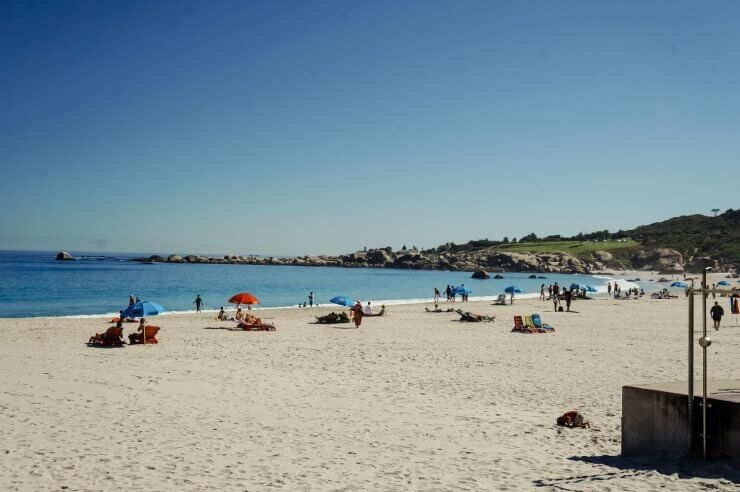 Sandy beach in the Sea Point neighborhood of Cape Town, South Africa.