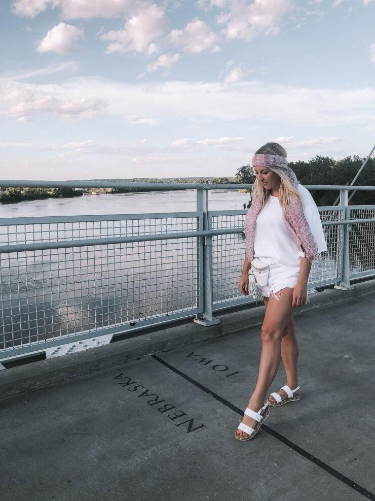 Walking along the Bob Kerry Pedestrian Bridge in Omaha, Nebraska.