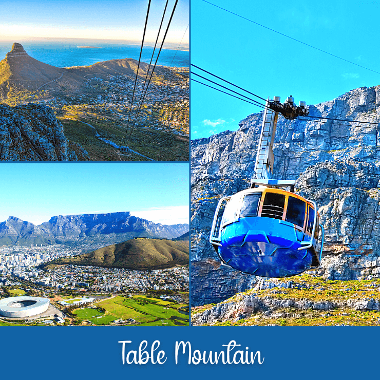 Views of Table Mountain in Cape Town South Africa with images of the cable car that takes you to the top of Table Mountain for incredible views of Cape Town.