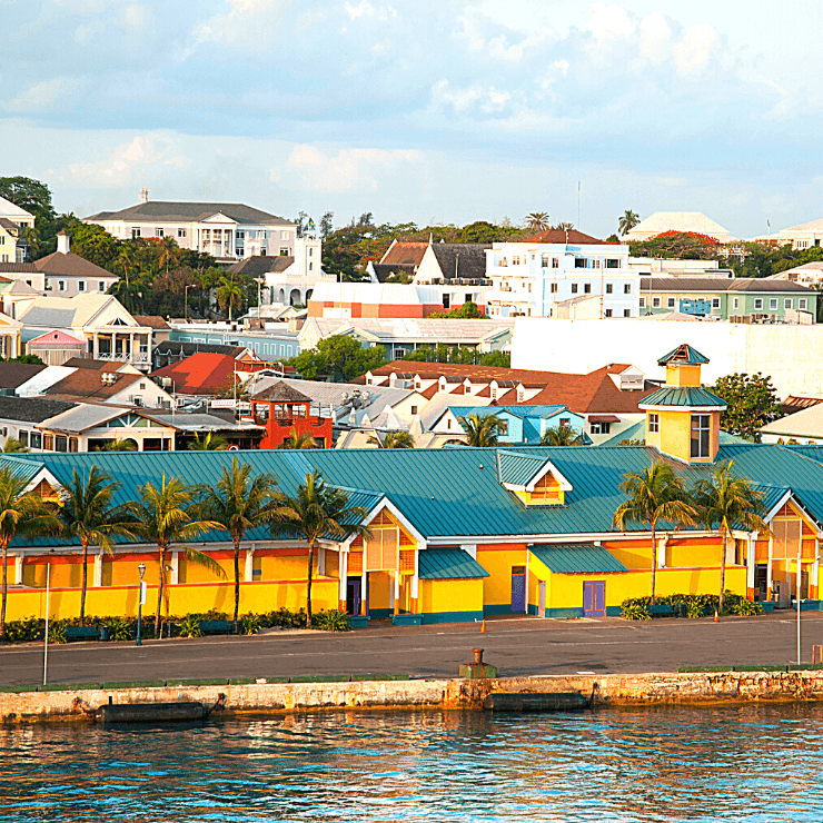 View of downtown Nassau taken from the sea in the Bahamas.