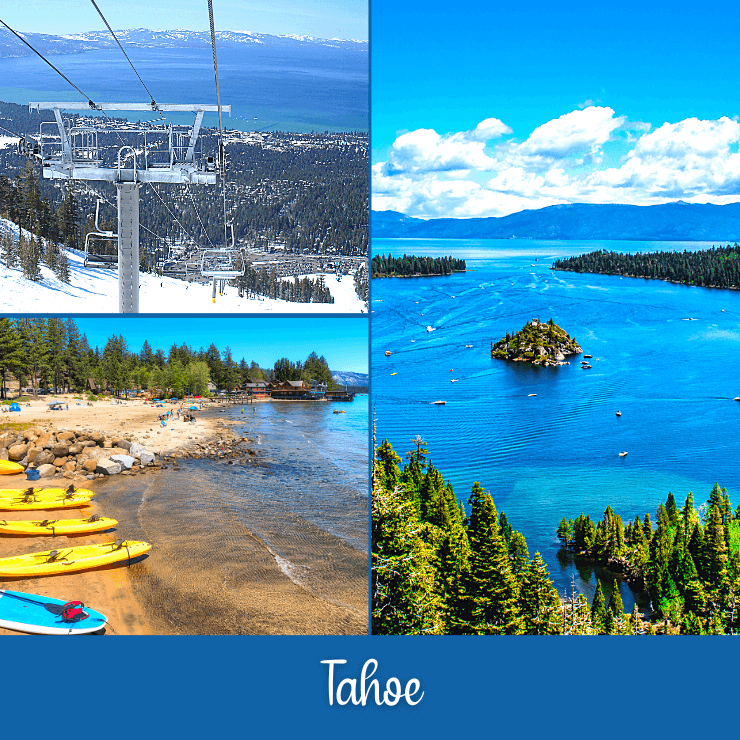 Escape to beautiful Tahoe on a girls getaway that can include skiing or lake activities depending on the season.